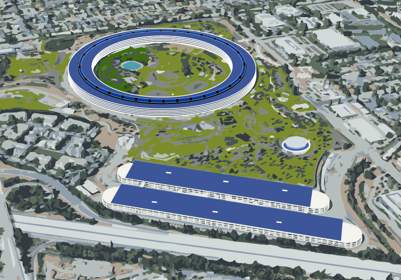 This image shows a rendering of a large, ring-shaped building.
