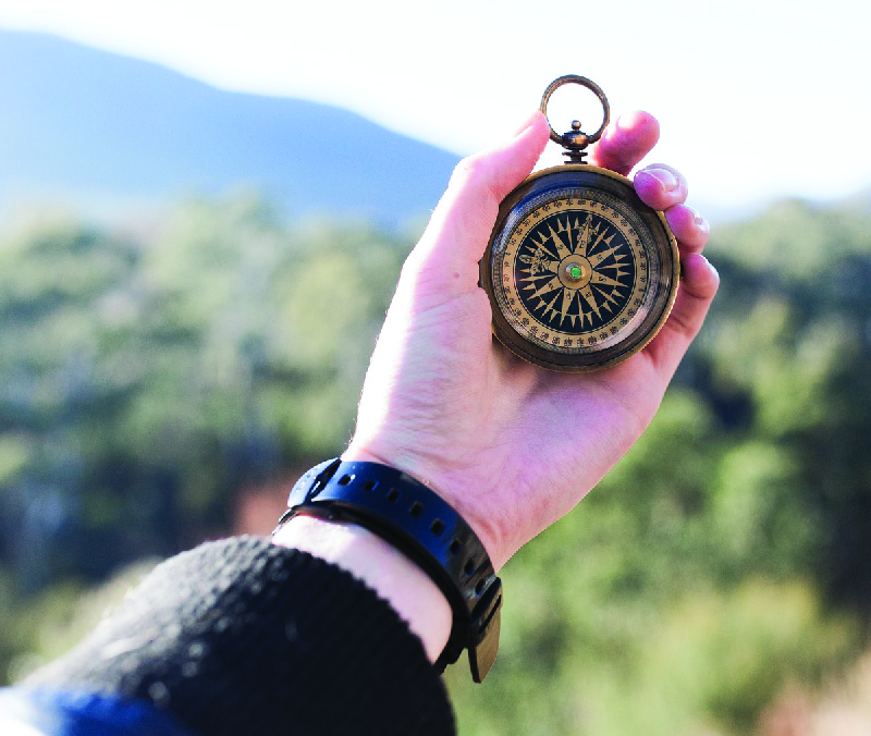 This image shows a person's hand holding a compass.
