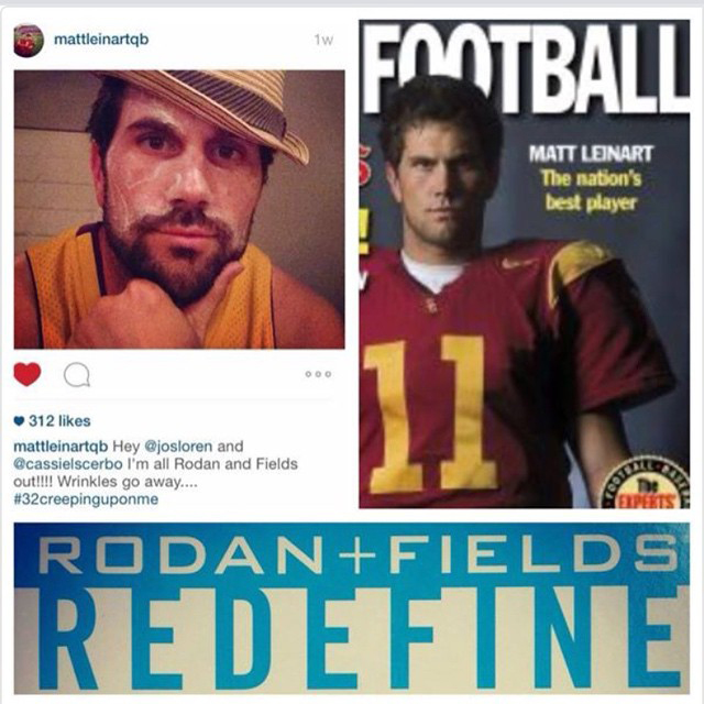 An image contains 2 smaller, side by side images; and at the bottom reads, Rodan and Fields, redefine.