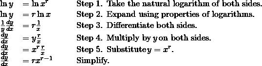 \begin{array}{lllll} \ln y & = \ln x^r & & & \text{Step 1. Take the natural logarithm of both sides.} \\ \ln y & = r \ln x & & & \text{Step 2. Expand using properties of logarithms.} \\ \frac{1}{y}\frac{dy}{dx} & = r \frac{1}{x} & & & \text{Step 3. Differentiate both sides.} \\ \frac{dy}{dx} & = y \frac{r}{x} & & & \text{Step 4. Multiply by} \, y \, \text{on both sides.} \\ \frac{dy}{dx} & = x^r \frac{r}{x} & & & \text{Step 5. Substitute} \, y=x^r. \\ \frac{dy}{dx} & = rx^{r-1} & & & \text{Simplify.} \end{array}