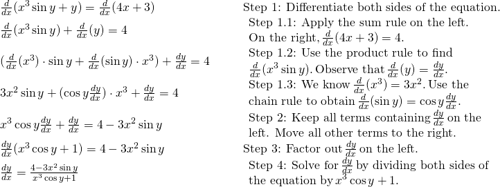 \begin{array}{llll}\frac{d}{dx}(x^3 \sin y+y) = \frac{d}{dx}(4x+3) & & & \text{Step 1: Differentiate both sides of the equation.} \\ \frac{d}{dx}(x^3 \sin y)+\frac{d}{dx}(y) = 4 & & & \begin{array}{l}\text{Step 1.1: Apply the sum rule on the left.} \\ \text{On the right,} \, \frac{d}{dx}(4x+3)=4. \end{array} \\ (\frac{d}{dx}(x^3) \cdot \sin y+\frac{d}{dx}(\sin y) \cdot x^3) + \frac{dy}{dx} = 4 & & & \begin{array}{l}\text{Step 1.2: Use the product rule to find} \\ \frac{d}{dx}(x^3 \sin y). \, \text{Observe that} \, \frac{d}{dx}(y)=\frac{dy}{dx}. \end{array} \\ 3x^2 \sin y+(\cos y\frac{dy}{dx}) \cdot x^3 + \frac{dy}{dx} = 4 & & & \begin{array}{l}\text{Step 1.3: We know} \, \frac{d}{dx}(x^3)=3x^2. \, \text{Use the} \\ \text{chain rule to obtain} \, \frac{d}{dx}(\sin y)= \cos y\frac{dy}{dx}. \end{array} \\ x^3 \cos y\frac{dy}{dx}+\frac{dy}{dx} = 4-3x^2 \sin y & & & \begin{array}{l}\text{Step 2: Keep all terms containing} \, \frac{dy}{dx} \, \text{on the} \\ \text{left. Move all other terms to the right.} \end{array} \\ \frac{dy}{dx}(x^3 \cos y+1) = 4-3x^2 \sin y & & & \text{Step 3: Factor out} \, \frac{dy}{dx} \, \text{on the left.} \\ \frac{dy}{dx} = \large \frac{4-3x^2 \sin y}{x^3 \cos y+1} & & & \begin{array}{l}\text{Step 4: Solve for} \, \frac{dy}{dx} \, \text{by dividing both sides of} \\ \text{the equation by} \, x^3 \cos y+1. \end{array} \end{array}