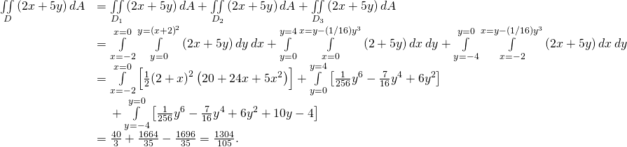 \begin{array}{cc}\hfill \underset{D}{\iint }\left(2x+5y\right)dA& =\underset{{D}_{1}}{\iint }\left(2x+5y\right)dA+\underset{{D}_{2}}{\iint }\left(2x+5y\right)dA+\underset{{D}_{3}}{\iint }\left(2x+5y\right)dA\hfill \\ & =\underset{x=-2}{\overset{x=0}{\int }}\phantom{\rule{0.2em}{0ex}}\underset{y=0}{\overset{y={\left(x+2\right)}^{2}}{\int }}\left(2x+5y\right)dy\phantom{\rule{0.2em}{0ex}}dx+\underset{y=0}{\overset{y=4}{\int }}\phantom{\rule{0.2em}{0ex}}\underset{x=0}{\overset{x=y-\left(1\text{/}16\right){y}^{3}}{\int }}\left(2+5y\right)dx\phantom{\rule{0.2em}{0ex}}dy+\underset{y=-4}{\overset{y=0}{\int }}\phantom{\rule{0.2em}{0ex}}\underset{x=-2}{\overset{x=y-\left(1\text{/}16\right){y}^{3}}{\int }}\left(2x+5y\right)dx\phantom{\rule{0.2em}{0ex}}dy\hfill \\ & =\underset{x=-2}{\overset{x=0}{\int }}\left[\frac{1}{2}{\left(2+x\right)}^{2}\left(20+24x+5{x}^{2}\right)\right]+\underset{y=0}{\overset{y=4}{\int }}\left[\frac{1}{256}{y}^{6}-\frac{7}{16}{y}^{4}+6{y}^{2}\right]\hfill \\ & \phantom{\rule{1em}{0ex}}+\underset{y=-4}{\overset{y=0}{\int }}\left[\frac{1}{256}{y}^{6}-\frac{7}{16}{y}^{4}+6{y}^{2}+10y-4\right]\hfill \\ & =\frac{40}{3}+\frac{1664}{35}-\frac{1696}{35}=\frac{1304}{105}.\hfill \end{array}