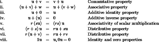 \begin{array}{ccccccccc}\text{i.}\hfill & & & \hfill \text{u}+\text{v}& =\hfill & \text{v}+\text{u}\hfill & & & \text{Commutative property}\hfill \\ \text{ii.}\hfill & & & \hfill \left(\text{u}+\text{v}\right)+\text{w}& =\hfill & \text{u}+\left(\text{v}+\text{w}\right)\hfill & & & \text{Associative property}\hfill \\ \text{iii.}\hfill & & & \hfill \text{u}+0& =\hfill & \text{u}\hfill & & & \text{Additive identity property}\hfill \\ \text{iv.}\hfill & & & \hfill \text{u}+\left(\text{−}\text{u}\right)& =\hfill & 0\hfill & & & \text{Additive inverse property}\hfill \\ \text{v.}\hfill & & & \hfill r\left(s\text{u}\right)& =\hfill & \left(rs\right)\text{u}\hfill & & & \text{Associativity of scalar multiplication}\hfill \\ \text{vi.}\hfill & & & \hfill \left(r+s\right)\text{u}& =\hfill & r\text{u}+s\text{u}\hfill & & & \text{Distributive property}\hfill \\ \text{vii.}\hfill & & & \hfill r\left(\text{u}+\text{v}\right)& =\hfill & r\text{u}+r\text{v}\hfill & & & \text{Distributive property}\hfill \\ \text{viii.}\hfill & & & \hfill 1\text{u}& =\hfill & \text{u},0\text{u}=0\hfill & & & \text{Identity and zero properties}\hfill \end{array}