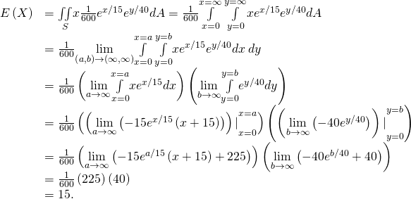 \begin{array}{cc}\hfill E\left(X\right)& =\underset{S}{\iint }x\frac{1}{600}{e}^{\text{−}x\text{/}15}{e}^{\text{−}y\text{/}40}dA=\frac{1}{600}\underset{x=0}{\overset{x=\infty }{\int }}\phantom{\rule{0.2em}{0ex}}\underset{y=0}{\overset{y=\infty }{\int }}x{e}^{\text{−}x\text{/}15}{e}^{\text{−}y\text{/}40}dA\hfill \\ & =\frac{1}{600}\underset{\left(a,b\right)\to \left(\infty ,\infty \right)}{\text{lim}}\underset{x=0}{\overset{x=a}{\int }}\phantom{\rule{0.2em}{0ex}}\underset{y=0}{\overset{y=b}{\int }}x{e}^{\text{−}x\text{/}15}{e}^{\text{−}y\text{/}40}dx\phantom{\rule{0.2em}{0ex}}dy\hfill \\ & =\frac{1}{600}\left(\underset{a\to \infty }{\text{lim}}\underset{x=0}{\overset{x=a}{\int }}x{e}^{\text{−}x\text{/}15}dx\right)\left(\underset{b\to \infty }{\text{lim}}\underset{y=0}{\overset{y=b}{\int }}{e}^{\text{−}y\text{/}40}dy\right)\hfill \\ & =\frac{1}{600}\left({\left(\underset{a\to \infty }{\text{lim}}\left(-15{e}^{\text{−}x\text{/}15}\left(x+15\right)\right)\right)|}_{x=0}^{x=a}\right)\left({\left(\underset{b\to \infty }{\text{lim}}\left(-40{e}^{\text{−}y\text{/}40}\right)\right)|}_{y=0}^{y=b}\right)\hfill \\ & =\frac{1}{600}\left(\underset{a\to \infty }{\text{lim}}\left(-15{e}^{\text{−}a\text{/}15}\left(x+15\right)+225\right)\right)\left(\underset{b\to \infty }{\text{lim}}\left(-40{e}^{\text{−}b\text{/}40}+40\right)\right)\hfill \\ & =\frac{1}{600}\left(225\right)\left(40\right)\hfill \\ & =15.\hfill \end{array}