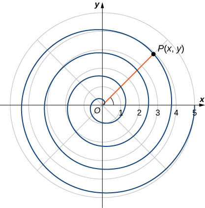 A spiral starting at the origin and continually increasing its radius to a point P(x, y).