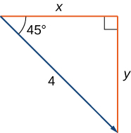 """This figure is a right triangle. The two sides are labeled """"x"""" and """"y."""" The hypotenuse is labeled """"4."""" There is also an angle labeled """"45 degrees."""" The hypotenuse is represented as a vector."""