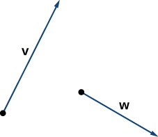 This figure has two vectors. They are vector v and vector w. They are not connected.