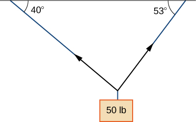"""This figure is a horizontal line with two vectors below the line formina a triangle with the line. The vectors point toward the ends of the line. The angle between the horizontal line and the first vector is 40 degrees. The angle between the horizontal line and the second vector is 53 degrees. At the point where the two vectors meet is a rectangle labeled """"50 lb."""""""