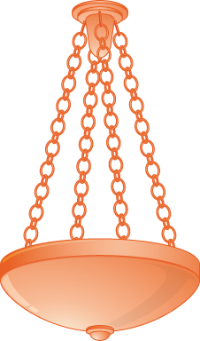 This figure shows a light fixture hung from a ceiling, supported by 4 chains from the same point on the ceiling to four points spread evenly around the light fixture.