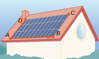 """This figure shows a rectangular set of solar panels on a roof. The corners are labeled """"A, B, C, D."""" Also there is a vector drawn from A to D. There is another vector along the bottom of the rectangle from A to B."""