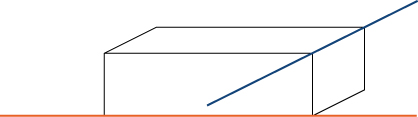 This figure has two line segments. They are 3-dimensional, are not parallel, and do not intersect. The directions are different and one is above the other.