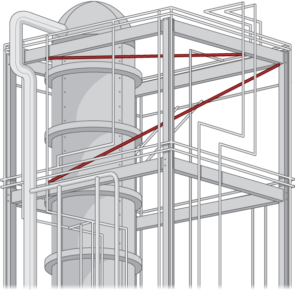 This figure shows a system of pipes running in different directions in an industrial plant. Two skew pipes are highlighted in red.