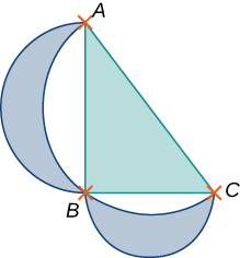 A right triangle with points A, B, and C. Point B has the right angle. There are two lunes drawn from A to B and from B to C with outer diameters AB and AC, respectively, and with the inner boundaries formed by the circumcircle of the triangle ABC.