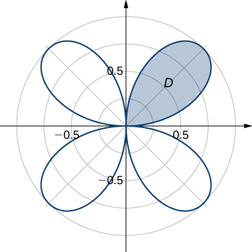 A region D is drawn in the first quadrant petal of the four petal rose given by r = sin (2 theta).