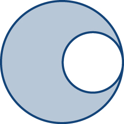 A shaded circle with an open space in the shape of a circle inside it but very close to the boundary.