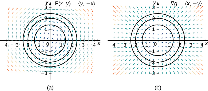 Two vector fields in two dimensions. The first has arrows surrounding the origin in a clockwise circular pattern. The second has arrows pointing out and away from the origin in a radial manner. Circles with radii 1.5, 2, and 2.5 and centers at the origin are drawn in both. The arrows near the origin are shorter than those much further away. The first is labeled F(x,y) = <y, -x> and the second is labeled for the gradient, delta g = <x, -y>.