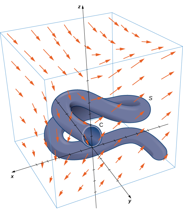 A diagram of a complicated surface S in a three dimensional vector field. The surface is a cylindrical tube that twists about in the three-dimensional space arbitrarily. The upper end of the tube is an open circle leading to inside the tube. It is centered on the z-axis at a height of z=1 and has a radius of 1. The bottom end of the tube is closed with a hemispherical cap on the end. The vector arrows are best described by their components. The x component is positive everywhere and becomes larger as z increases. The y component is positive in the first and third octants and negative in the other two. The z component is zero when y=x and becomes more positive with more positive x and y values and more negative in the other direction.