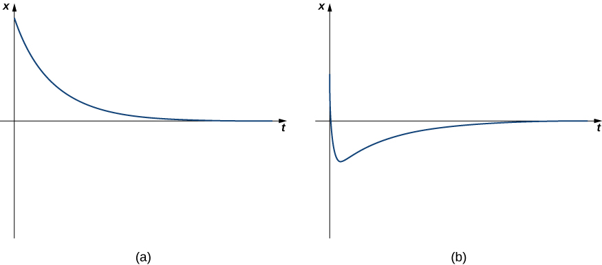 This figure has two graphs labeled (a) and (b). The first graph is a decreasing curve with the horizontal axis as a horizontal asymptote. The second graph initially is a decreasing function but becomes increasing below the horizontal axis. Then, the horizontal axis is also a horizontal asymptote.
