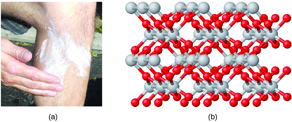 Figure A shows a photo of a person applying suntan lotion to his or her lower leg. Figure B shows a 3-D ball-and-stick model of the molecule titanium dioxide, which involves a complicated interlocking of many titanium and oxygen atoms. The titanium atoms in the molecule are shown as silver spheres and the oxygen atoms are shown as red spheres. There are twice as many oxygen atoms as titanium atoms in the molecule.