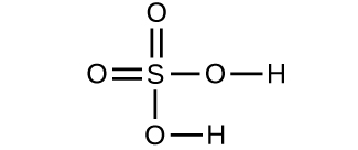 A structure is shown. An S atom forms double bonds with two O atoms. The S atom also forms a single bond with an O atom which forms a single bond with an H atom. The S atom also forms a single bond with another O atom which forms a single bond with another H atom.