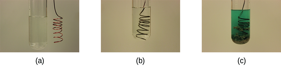 This figure contains three photographs. In a, a coiled copper wire is shown beside a test tube filled with a clear, colorless liquid. In b, the wire has been inserted into the test tube with the clear, colorless liquid. In c, the test tube contains a light blue liquid and the coiled wire appears to have a fuzzy silver gray coating.
