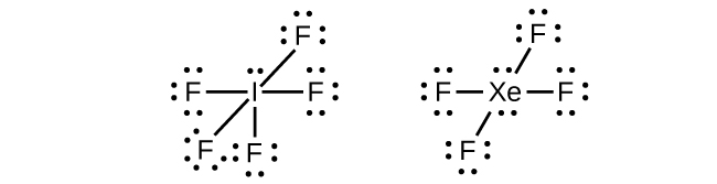 two lewis structures are shown  the left shows an iodine atom with one lone  pair
