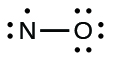 A Lewis structure shows a nitrogen atom, with one lone pair and one lone electron single bonded to an oxygen atom with three lone pairs of electrons.