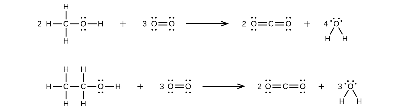 two reactions are shown using lewis structures  the top reaction shows a  carbon atom,