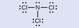 A Lewis structure is shown. A nitrogen atom with one lone pair of electrons is single bonded to three chlorine atoms, each of which has three lone pairs of electrons.