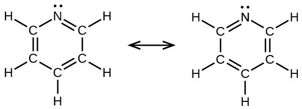 two lewis structures are shown with a double-headed arrow in between  the  left