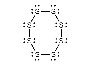 A Lewis structure is shown in which eight sulfur atoms, each with two lone pairs of eletrons, are single bonded together into an eight-sided ring.