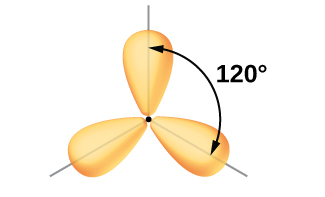 "Three balloon-like orbitals are shown, and connect together near their narrower ends in one plane. The angle between a pair of lobes is labeled, ""120 degrees."""