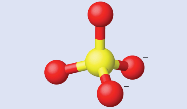 A structure is shown in which a sulfur atom is bonded to four oxygen atoms in a tetrahedral arrangement. Two of the oxygen atoms have a negative charge.