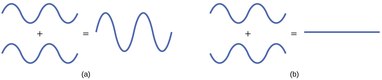 "A pair of diagrams are shown and labeled, ""a"" and ""b."" Diagram a shows two identical waves with two crests and two troughs. They are drawn one above the other with a plus sign in between and an equal sign to the right. To the right of the equal sign is a much taller wave with a same number of troughs and crests. Diagram b shows two waves with two crests and two troughs, but they are mirror images of one another rotated over a horizontal axis. They are drawn one above the other with a plus sign in between and an equal sign to the right. To the right of the equal sign is a flat line."