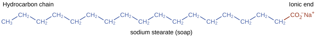 This figure shows a structural formula for soap known as sodium stearate. A hydrocarbon chain composed of 18 carbon atoms and 35 hydrogen atoms is shown with an ionic end with 2 oxygen atoms and a negative charge. A positively charged N a superscript plus is also shown at the ionic end.