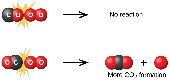 "A diagram is shown that illustrates two possible collisions between C O and O subscript 2. In the diagram, oxygen atoms are represented as red spheres and carbon atoms are represented as black spheres. The diagram is divided into upper and lower halves by a horizontal dashed line. At the top left, a C O molecule is shown striking an O subscript 2 molecule such that the O atom from the C O molecule is at the point of collision. Surrounding this collision are a mix of molecules of C O, and O subscript 2 of varying sizes. At the top middle region of the figure, two separated O atoms are shown as red spheres with the label, ""Oxygen to oxygen,"" beneath them. To the upper right, ""No reaction"" is written. Similarly in the lower left of the diagram, a C O molecule is shown striking an O subscript 2 molecule such that the C atom from the C O molecule is at the point of collision. Surrounding this collision are a mix of molecules of C O, and O subscript 2 of varying sizes. At the lower middle region of the figure, a black sphere and a red spheres are shown with the label, ""Carbon to oxygen,"" beneath them. To the lower right, ""More C O subscript 2 formation"" is written and three models of C O subscript 2 composed each of a single central black sphere and two red spheres in a linear arrangement are shown."