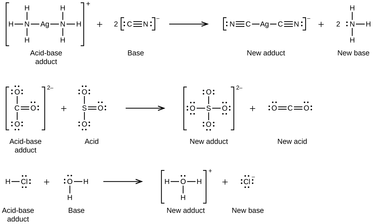 152 lewis acids and bases chemistry this figure shows three chemical reactions in three rows using structural formulas in the first pooptronica Choice Image
