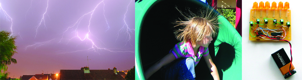 Three photographs are shown in this figure. The first shows lightning against a dark evening sky. The second shows a child at the open base of a green plastic playground tube slide. The child's hair is sticking up and the child's shadow on the base of the slide shows the child's hair sticking up and out in all directions. The final picture shows a 9 volt battery from which red and blue coated wire that is twisted together extend from the battery terminals to the lower region of a yellow platform or board. Above this region are six resistors in a horizontal row, evenly spaced horizontally across the span of the board. Green, blue, and white wires are also visible on the board. 6 orange L E D light bulbs extend from the upper edge of the platform in a horizontal line parallel to the pegs.