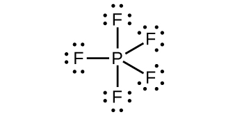 This Lewis structure shows a phosphorus atom single bonded to five fluorine atoms, each with three lone pairs of electrons.