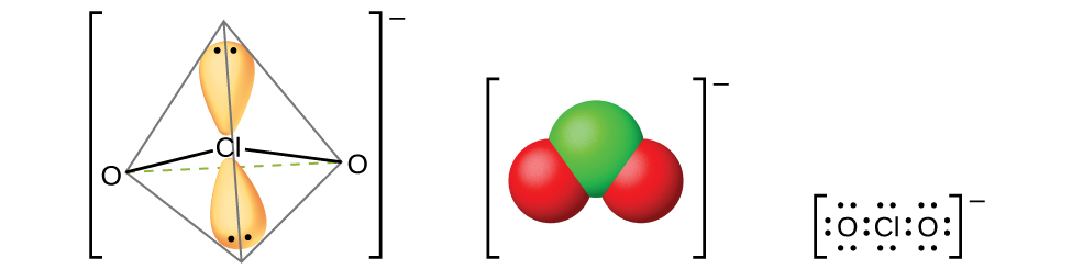 """Three models of molecules are shown, each surrounded by brackets and each with a superscript negative sign outside the brackets. The left molecule shows a chlorine atom with two orbitals occupied by lone pairs of electrons. The chlorine atom is single bonded to two oxygen atoms, all of which are located at 109.5 degree angles from one another. The center molecule shows a space-filling model with a green atom labeled, """"C l,"""" bonded to two red atoms labeled, """"O."""" The right molecule is a Lewis structure of a chlorine atom with two lone pairs of electrons surrounded by two oxygen atoms on either side, each with four lone pairs of electrons."""