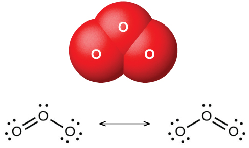 """A space filling model shows three atoms labeled, """"O,"""" bonded to one another in a triangular shape. Two Lewis structures connected by a double ended arrow are shown as well. In the left image, an oxygen atom with one lone pair of electrons is double bonded to another oxygen with two lone pairs of electrons to the left and single bonded to an oxygen with three lone pairs of electrons to the right. The right image is a mirror image of the left."""
