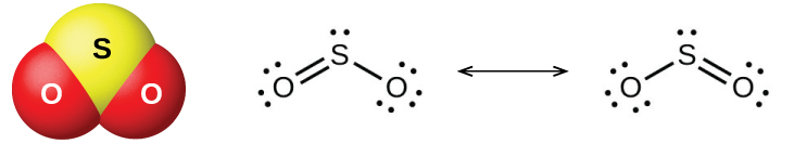 """A ball-and-stick model shows a yellow atom labeled, """"S,"""" bonded on either side to a red atom labeled, """"O."""" A pair of Lewis structures are shown connected by a double-headed arrow. The left Lewis structure shows a sulfur atom with one lone pair of electrons double bonded on the left to an oxygen atom with two lone pairs of electrons and single bonded on the right to an oxygen atom with three lone pairs of electrons. The right Lewis structure is a mirror image of the structure on the left."""