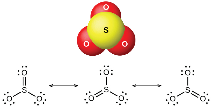 """A ball-and-stick model shows a yellow atom labeled, """"S,"""" bonded to three red atoms labeled, """"O."""" Three Lewis structures are shown connected by double-headed arrows. The left Lewis structure shows a sulfur atom single bonded on the lower left and right to oxygen atoms with three lone pairs of electrons each. The sulfur atom is also double bonded above to an oxygen atom with two lone pairs of electrons. The middle and right Lewis structures are the same as the left, but show the double bonded oxygen in the lower left and lower right positions, respectively."""
