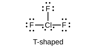 "This Lewis structure shows a chlorine atom with two lone pairs of electrons single bonded to three fluorine atoms, each of which has three lone pairs of electrons. The image is labeled, ""T-shaped."""