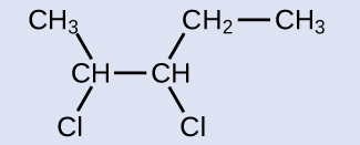 C H subscript 3 is bonded down and to the right to C H which is bonded down and to the left to C l. C H is also bonded to another C H which is bonded down and to the right to C l and up and to the right to C H subscript 2. C H subscript 2 is also bonded to C H subscript 3.