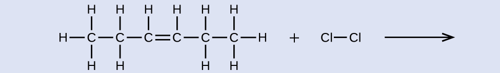 This shows a C atom bonded to three H atoms and another C atom. This second C atom is bonded to two H atoms and a third C atom. This third C atom is bonded to one H atom and also forms a double bond with a fourth C atom. This fourth C atom is bonded to one H atom and a fifth C atom. This fifth C atom is bonded to two H atoms and a sixth C atom. This sixth C atom is bonded to three H atoms. There is a plus sign followed by a C l atom bonded to another C l atom. There is a reaction arrow. no products are shown.