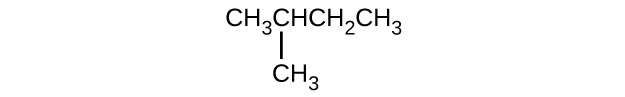 This structure shows a hydrocarbon chain composed of C H subscript 3 C H C H subscript 2 C H subscript 3 with a C H subscript 3 group attached beneath the second C atom counting left to right.