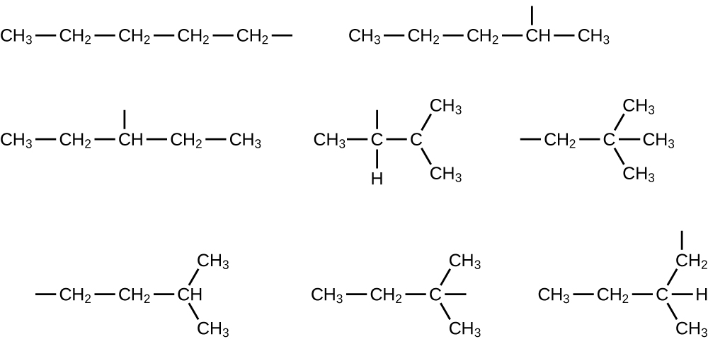Eight structures are shown. The first includes C H subscript 3 bonded to C H subscript 2 bonded to C H subscript 2 bonded to C H subscript 2 bonded to C H subscript 2 with a bond. The second shows C H subscript 3 bonded to C H subscript 2 bonded to C H subscript 2 bonded to C H bonded to C H subscript 3. There is a bond above the fourth C atom (from left to right). The third shows C H subscript 3 bonded to C H subscript 2 bonded to C H bonded to C H subscript 2 bonded to C H subscript 3. There is a bond above the third C atom (from left to right). The five remaining examples involve branching. The fourth structure shows C H subscript 3 bonded to C bonded to C. The second C atom (from left to right) has a bond above it and a bond to an H atom below it. The third C is bonded to two C H subscript 3 groups as well as an H atom. The fifth shows a bond leading to a C H subscript 2 group which is bonded to a C atom. This C atom is bonded to three C H subscript 3 groups. The sixth shows a bond and then C H subscript 2 bonded to C H subscript 2 bonded to C H. The C H is bonded to two C H subscript 3 groups. The seventh shows C H subscript 3 bonded to C H subscript 2 bonded to C with a bond. The C is also bonded to two C H subscript 3 groups. The final structure shows C H subscript 3 bonded to C H subscript 2 bonded to C H. The C H is bonded to a C H subscript 2 group with a bond and a C H subscript 3 group.