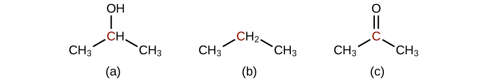 Structure a shows a C H subscript 3 group bonded up and to the right to a C H group which is bonded down and to the left to a C H subscript 3 group. Above the C H group is bonded an O H group. The C in the C H group is red. Structure b shows a C H subscript 3 group bonded up and to the right to a C H subscript 2 group which is bonded down and to the right to a C H subscript 3 group. The C in the C H subscript 2 group is red. Structure c shows a C H subscript 3 group bonded up and to the right to a red C atom. This C atom forms a double bond with an O atom above it. The C atom also forms a bond with a C H subscript 3 group down and to the right.