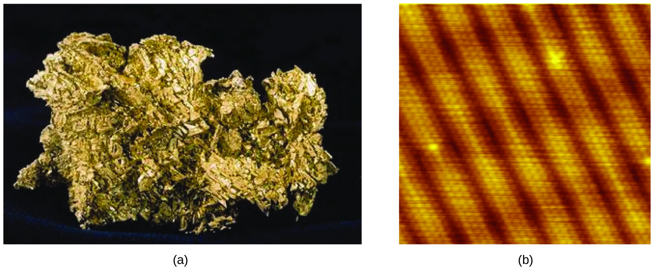 Figure A shows a gold nugget as it would appear to the naked eye. The gold nugget is very irregular, with many sharp edges. It appears gold in color. The microscope image of a gold crystal shows many similarly sized gold stripes that are separated by dark areas. Looking closely, one can see that the gold stripes are made of many, tiny, circular atoms.